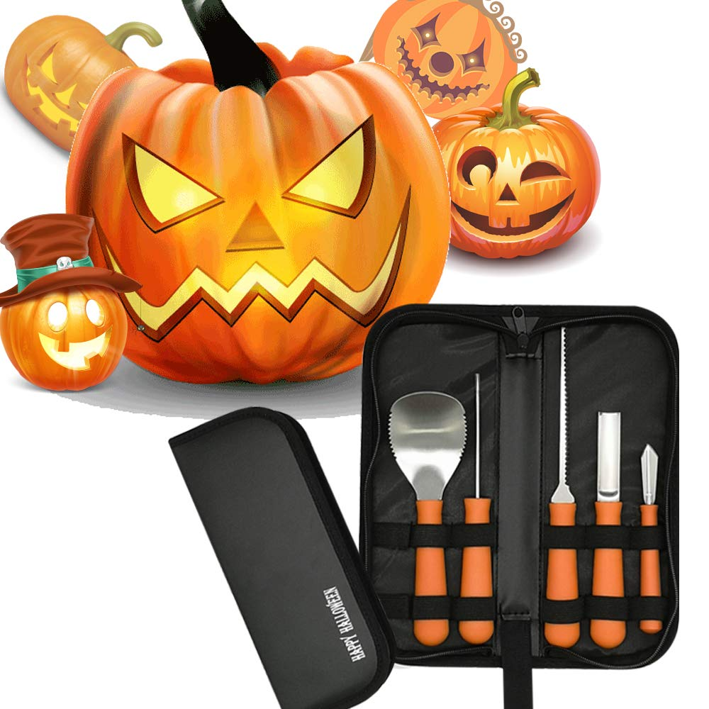Halloween Professional Pumpkin Carving Tool Kit Stainless Steel Cutting Supplies Sturdy Sculpting Set 5 pieces with 10 Stencils Orange by Zmomequ