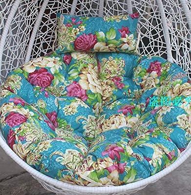 D&LE Imprimir Swing Cojines para sillas Redondo El balcón Colgando sillas Cesta Cojin de Asiento Patio Jardín Silla de Mimbre Cojin para Silla Piso Tatami Estera-P 140x110cm: Amazon.es: Hogar