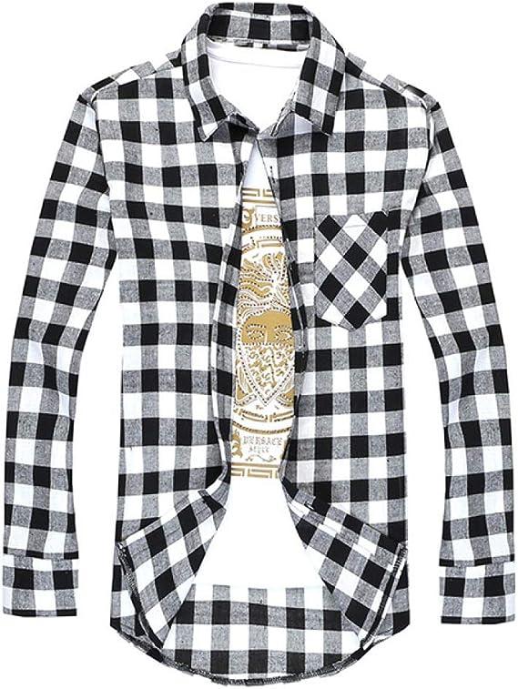 Loeay Camisas a Cuadros de Moda Camisa de Vestir de Hombre de Primavera de Manga Larga Camisa Social de Negocios Informal: Amazon.es: Ropa y accesorios