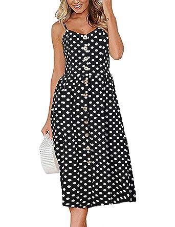 fdabf4ebc8b Amazon.com  Exlura Women s Dresses Summer Floral Sundress Swing Beach Dress  with Pockets  Clothing