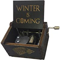 Music Box Hand Crank Musical Box Carved Wooden,Tune:The Theme Song of Game of Thrones (design2-black)