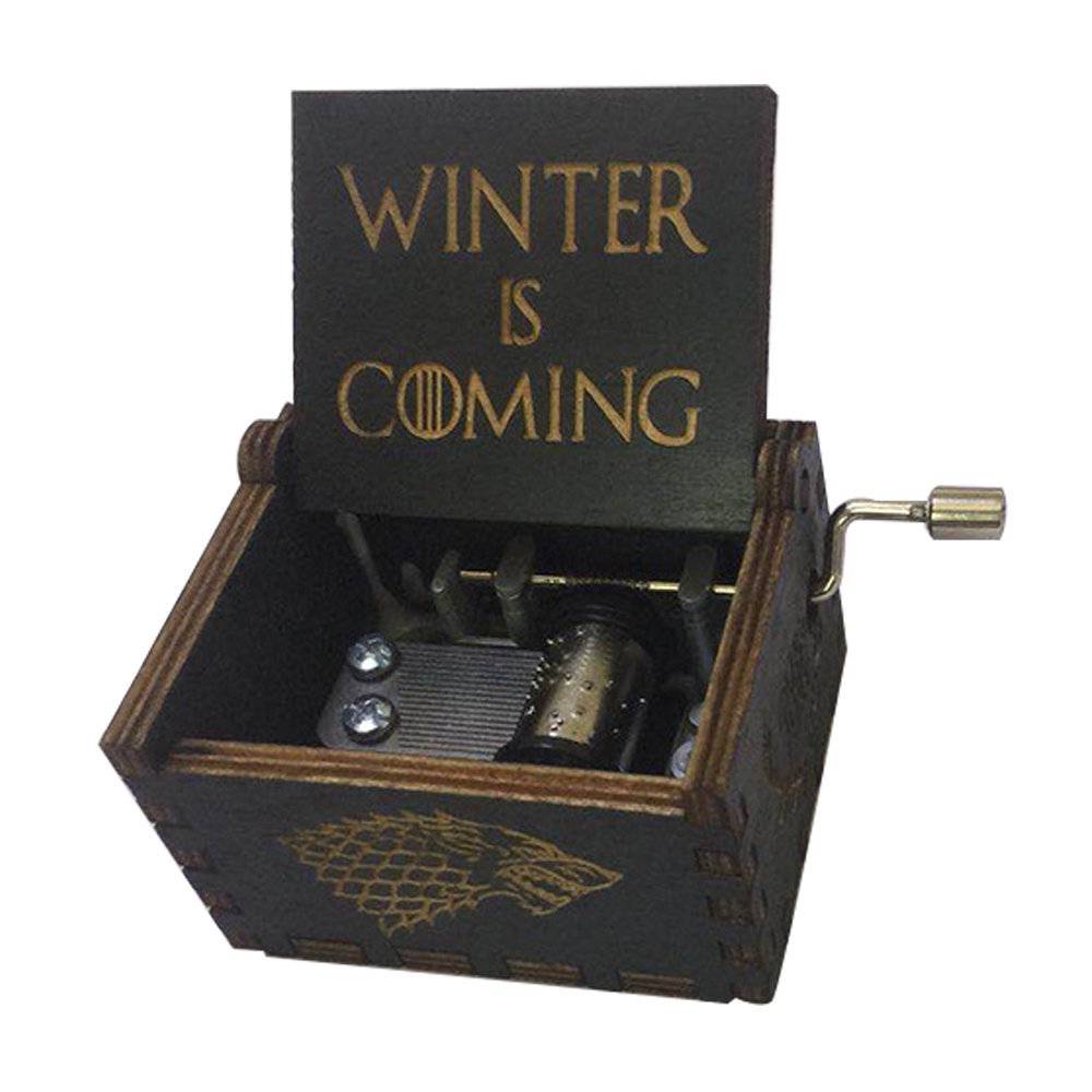 Game of Thrones Music Box Hand Crank Musical Box Carved Wooden,Play The Theme Song of Game of Thrones,Black