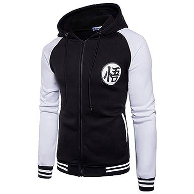 PIZZ ANNU Unisex Dragon Ball Sweatshirts Z Son Goku Zip Up Adult Hoodies (M,