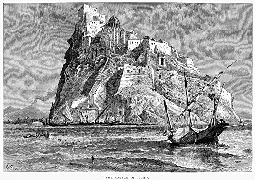(Italy Castle Of Ischia Ncastle Of Ischia On The Gulf Of Naples Wood Engraving 19Th Century Poster Print by (18 x 24))