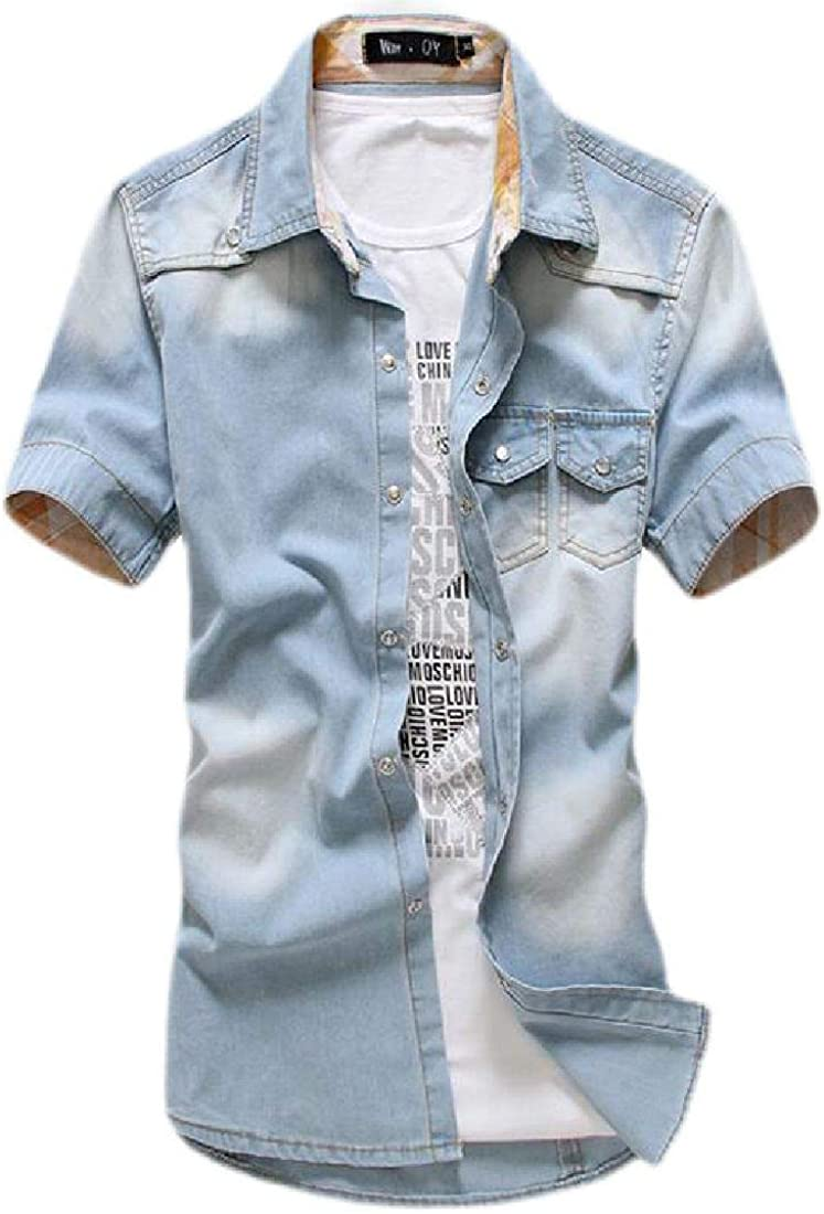 pipigo Mens Slim Pocket Short Sleeve Washed Casual Cargo Denim Work Shirt