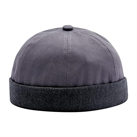 e2a49b85a37 Yezijin Men Skullcap Hat Cap Casual Docker Sailor Mechanic Brimless Solid  Color (Gray) at Amazon Men s Clothing store