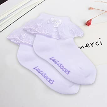 Refaxi Kid Fille Cheville Haute Doux Dentelle Froufrous Ruffle Coton Princesse Chaussettes Grand Arc Blanc 17-19 cm 8 ans +