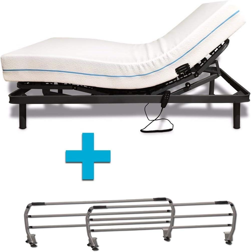 Duermete Cama Eléctrica Articulada Reforzada 5 Planos + Colchón Dorsal Viscoelástico + Juego Barandillas Abatibles, 80 X 190