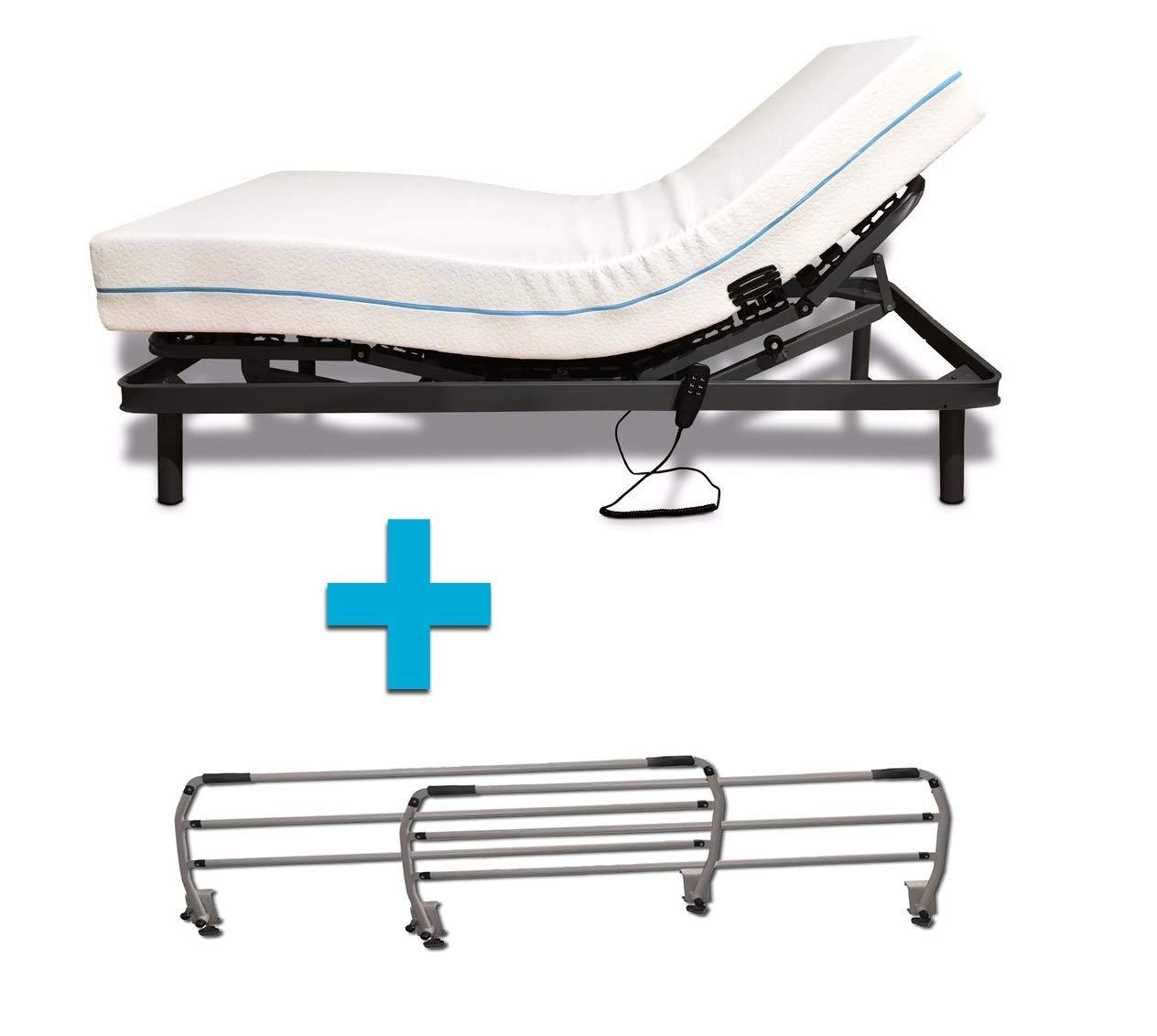 Duermete Cama Eléctrica Articulada Reforzada 5 Planos + Colchón Dorsal Viscoelástico + Juego Barandillas Abatibles, 90 X 190: Amazon.es: Juguetes y juegos
