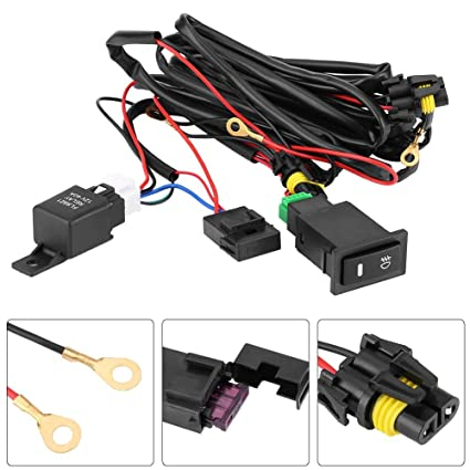amazon com: dewin fog light wiring kit - 12v universal car led fog light  on/off switch wiring harness, fuse relay kit: home & kitchen