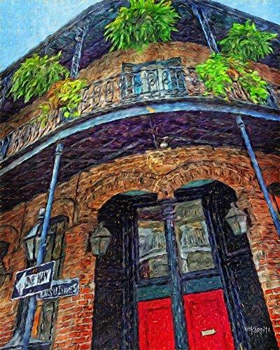 - New Orleans French Quarter Building Balcony Scene Art Print - Korpita