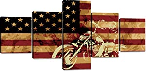 Yatsen Bridge Motorcycle on American Flag Background Canvas Wall Art Painting 5 Piece Modern Posters and Prints Pictures for Living Room, Home Decor Gallery-Wrapped Framed Stretched(50''W x 24''H)