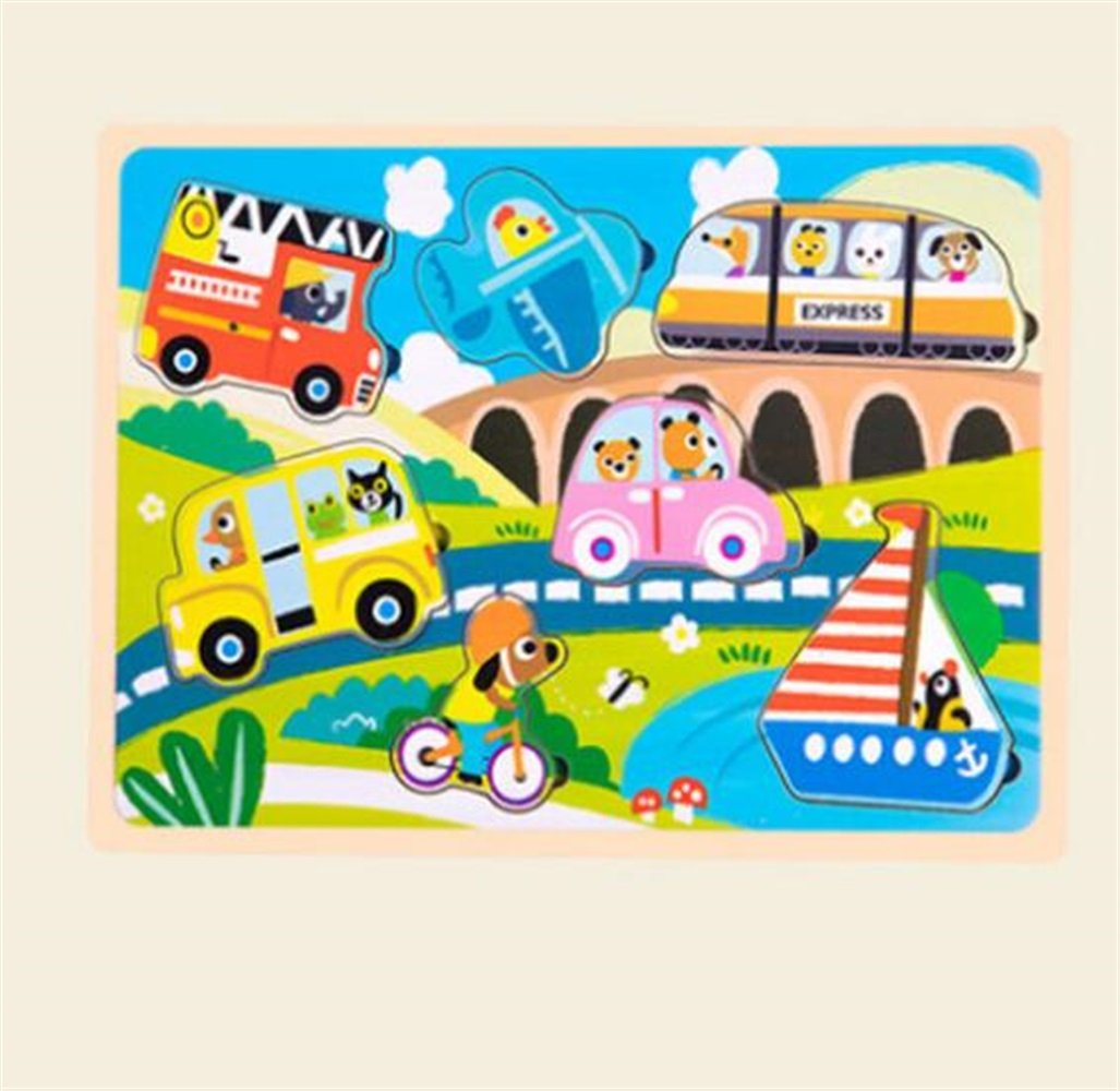 YChoice Educational Puzzle Kids Wooden Cartoon Puzzle Education Learning Toy Fantastic Gifts Kids(Transportation)