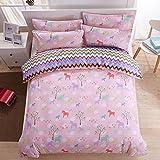 Zhiyuan Forest & Horse Pattern Duvet Cover Flat Sheet Pillowcases Set, Twin