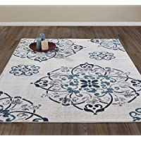 DIAGONA DESIGNS Contemporary Medallion Design Area Rug, Beige/Navy/Teal/Gray, 94 W x 118 L