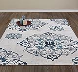 Diagona Designs Contemporary Floral Medallion Design 8′ X 10′ Area Rug, 94″ W x 118″ L, Ivory/Navy/Teal/Gray (JAS2063)