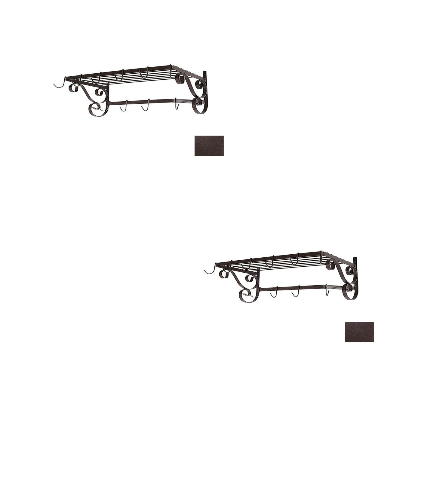 24-1/2-in x 13-in Aged Iron Rectangle Pot Rack - Grace Collection Model - GMC-WR24-UB-AI - Set of 2 Gift Bundle by Grace Collection