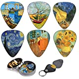 Vincent Van Gogh Guitar Picks Complete Gift Set For Guitarist. . Celluloid Medium 12 Pack in A Tin Box + Picks Holder - Unique Stocking Stuffer For Guitar Player - Limited Time Deal