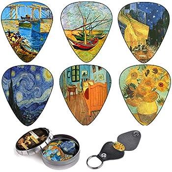 Vincent Van Gogh Guitar Picks Complete Gift Set For Guitarist Celluloid Medium 12 Pack