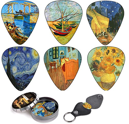 Vincent Van Gogh Guitar Picks Complete Gift Set For Guitarist. Celluloid Medium 12 Pack in A Tin Box + Picks Holder - Unique Accessory For Guitar Player - Limited Time Deal