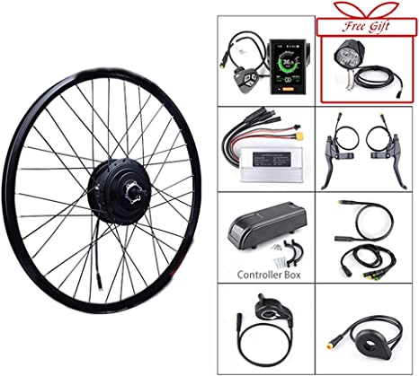 Wenhu Equipo eléctrico sin Cepillo de la conversión de la Bicicleta del Motor Delantero sin Cepillo de 48V 500W para el Motor de la tracción de 20 26 27.5 700C Pulgadas: Amazon.es: