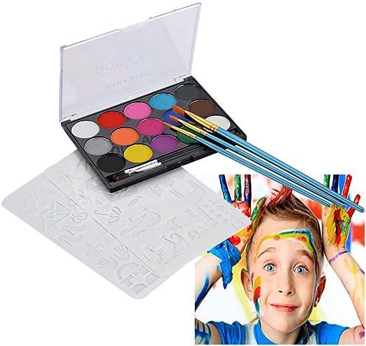 Kit de pintura facial para niños, 40 plantillas, 15 grandes pinturas lavables, 5 cepillos, pintura facial segura para piel sensible, calidad profesional para el cuerpo y la cara: Amazon.es: Productos para mascotas