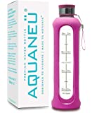 AQUANEÜ 32oz Glass Time-Marked Water Bottle with Measurements and Silicone Sleeve   Daily Water Intake Bottle Time Tracker   BPA Free & Eco Friendly   Gift Box Icluded