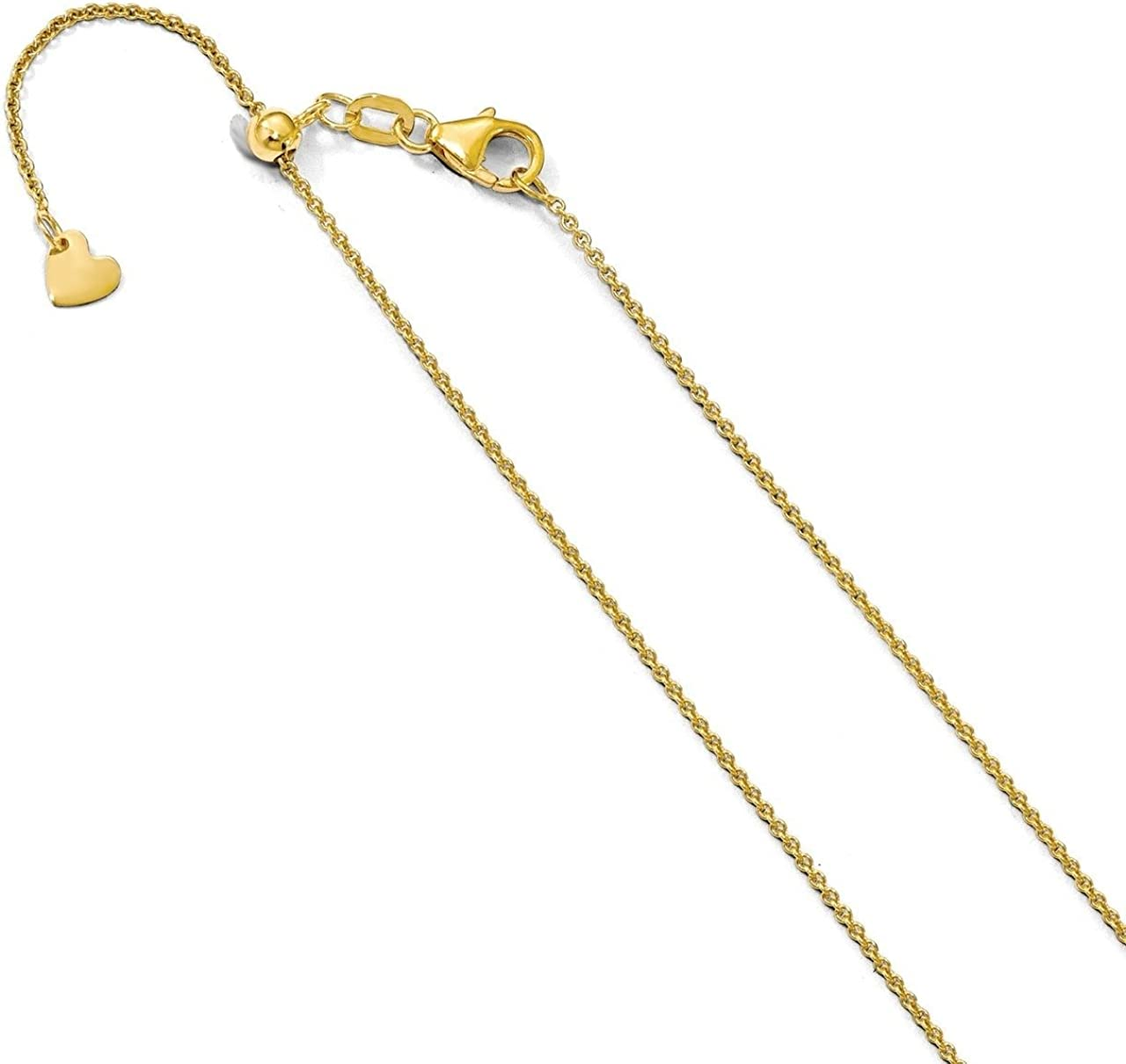 Lex /& Lu Leslies 14k Yellow Gold Round Cable Chain Necklace Adjustable LAL91992