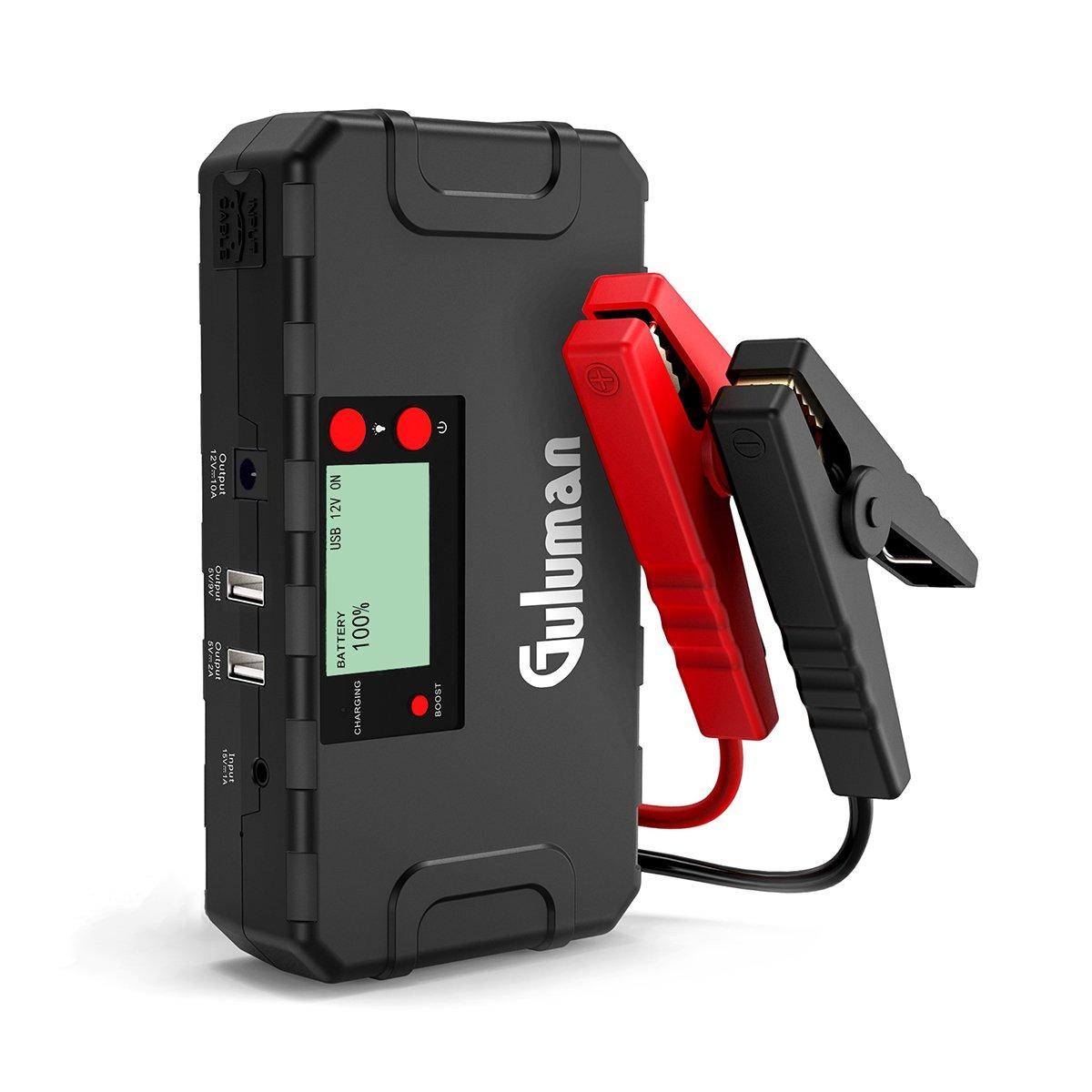 Guluman Auto Starthilfe 800A Peak 18000mAh Jump Starter Autobatterie Anlasser Externer Akku Ladegerä t mit LCD Display und LED Taschenlampe