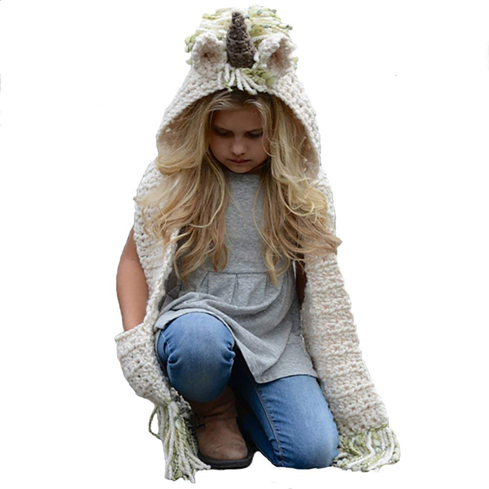 Yanekop Girl's Winter Animal Hats And Scarves Set Warm Hooded Scarf Best Gifts(Green Unicorn)
