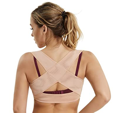e42b370fcb Humpback Posture Corrector Tops Shapewear for Women Compression Breast Up  Cross Back Support (Beige