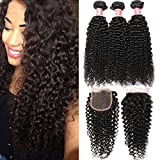Pizazz Brazilian Curly Hair with Closure Soft Brazilian Curly Weave Human Hair 3 Bundles With Closure Free Part (18 20 22+16)