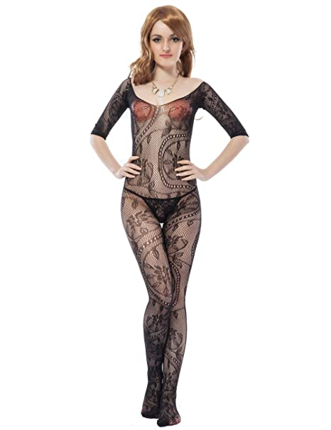 b35765b2e2 Amazon.com  Women Fishnet Bodystocking Crotchless Body Stockings Tights for  Sex Black  Clothing