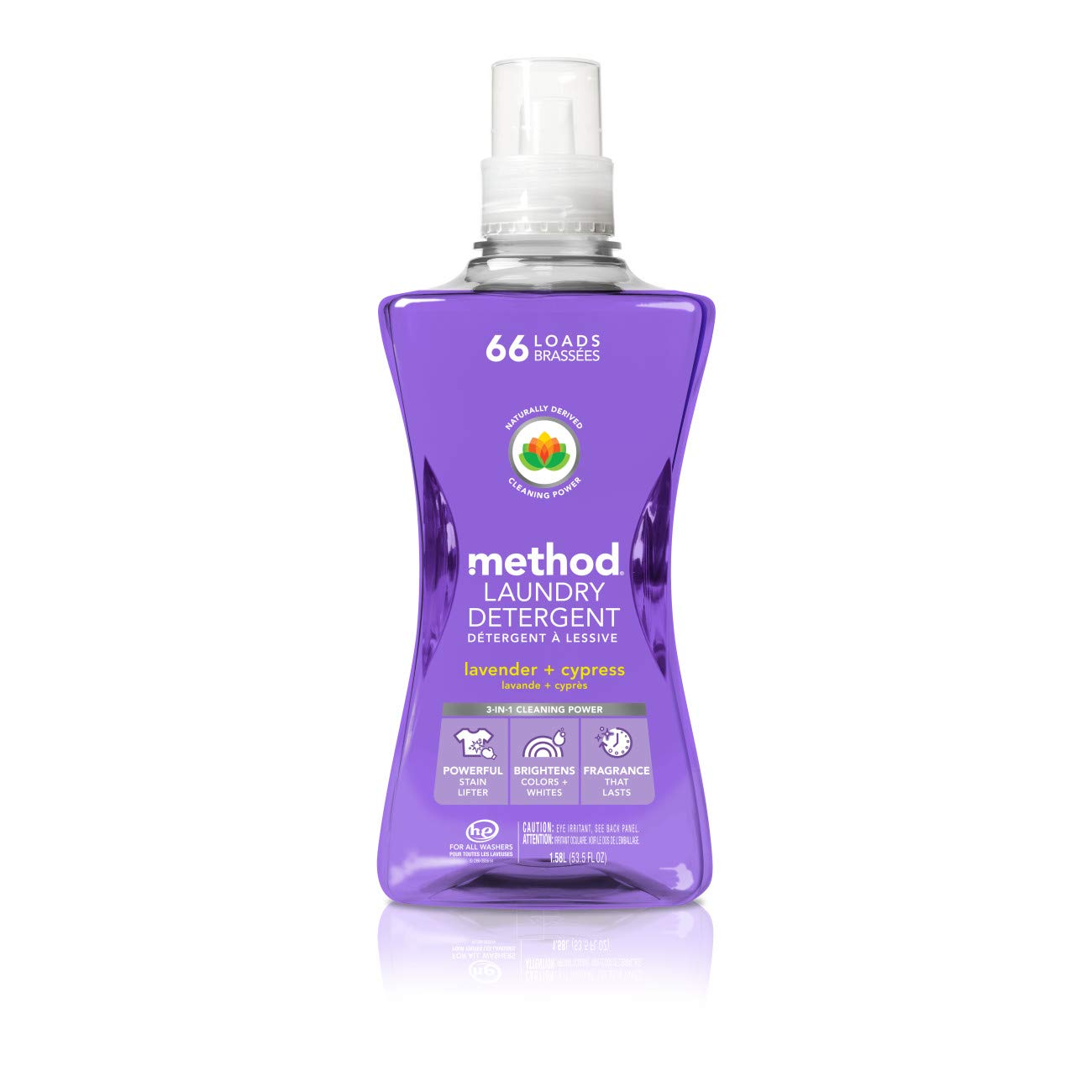 Method Concentrated Laundry Detergent, Lavender + Cypress, 53.5 Fl Oz (1 Count), 66 Loads by Method