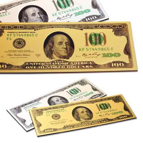 2x One Hundred Dollar $100 Bill Gold & Silver Millionaire Lucky Money Magnet Patriotic Souvenir Office Board Desk Door Fridge Magnets - Set of 2 (Fridge Bill Magnet)