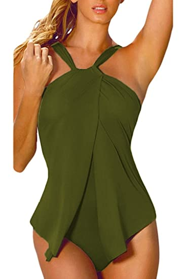 83e37764add27 Women Halter Neck One Piece Swimsuit Wrap Split Front at Amazon ...