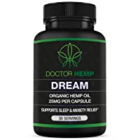 Doctor Hemp Dream | for Sleep Support & Anxiety Relief | 750mg of Organic Hemp Oil + Melatonin, Chamomile, Valerian Root, L-Theanine, GABA | Natural Sleep Aid | Vegan, Non-GMO | 30 Serv
