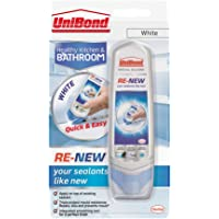 UniBond RE-NEW, White Silicone Sealant for Kitchen & Bath, One-Step Bathroom Sealant Renewal, Waterproof Bath Sealant with Triple Mould Resistance, 1 x 100ml