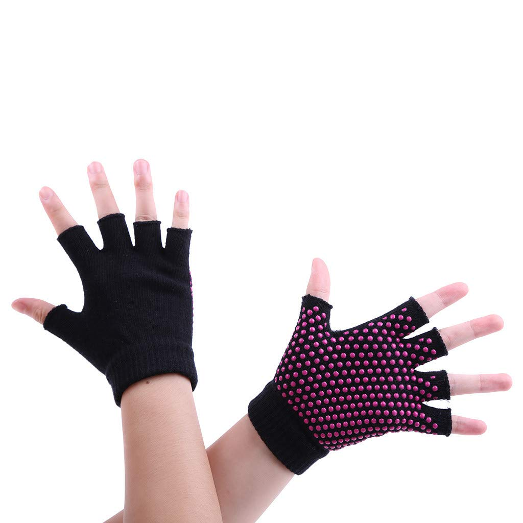 Midress Winter Warm Fingerless Gloves,Unisex Thicken Acrylic Half-Fingers Glove,Women Men Yoga Fitness Gloves Gym Training Sports Non-Slip Bicycle Gloves (Black)