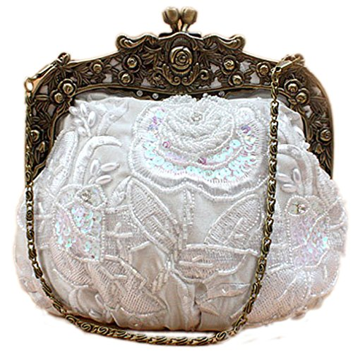 Women's Flower Belsen Vintage Handbags White Sequin Beaded Evening frqdnwFq5x