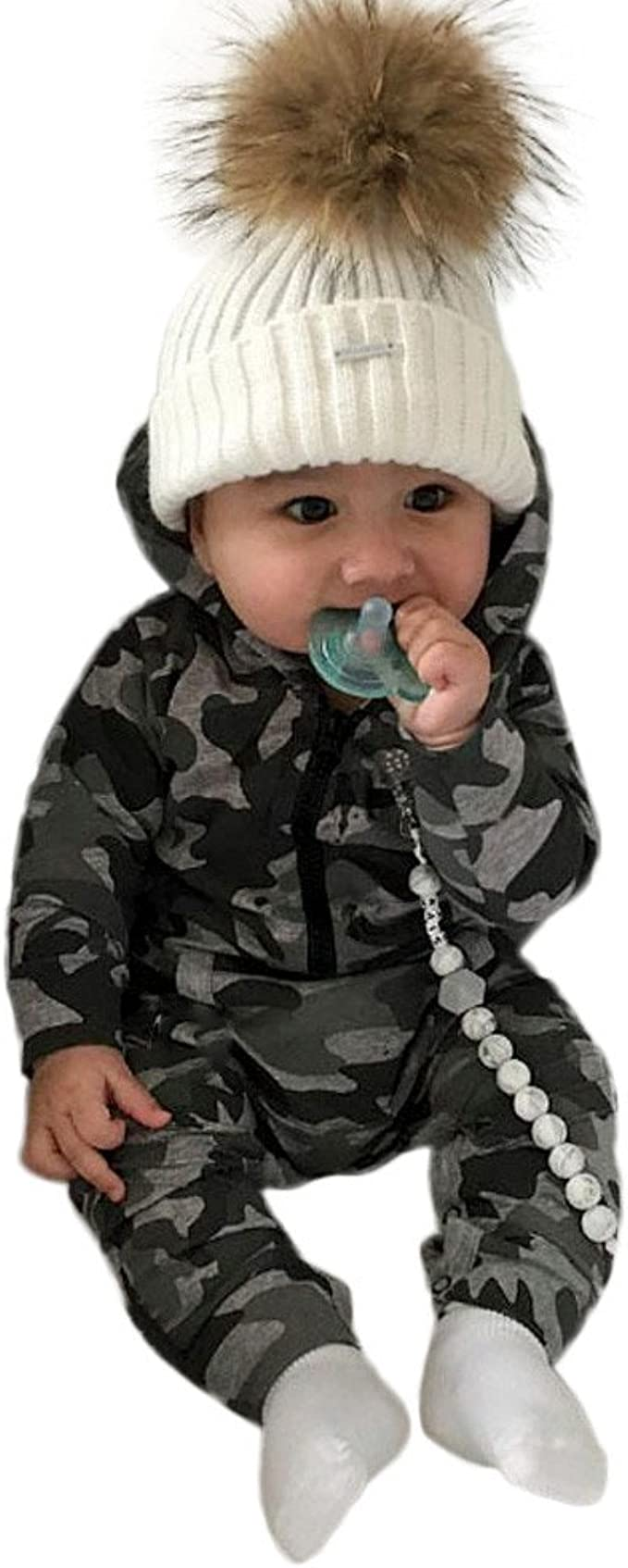 Baby Boys Girls Cotton Long Sleeve Camouflage Print Hooded Romper Jumpsuit Playsuit