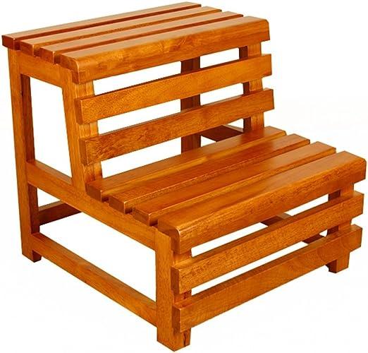 WANNA.ME Taburete con peldaños Taburete con peldaños de Madera Taburete para bañera de Madera Escalera de 2 Capas Escalera con peldaños Taburete con peldaños para baño: Amazon.es: Hogar