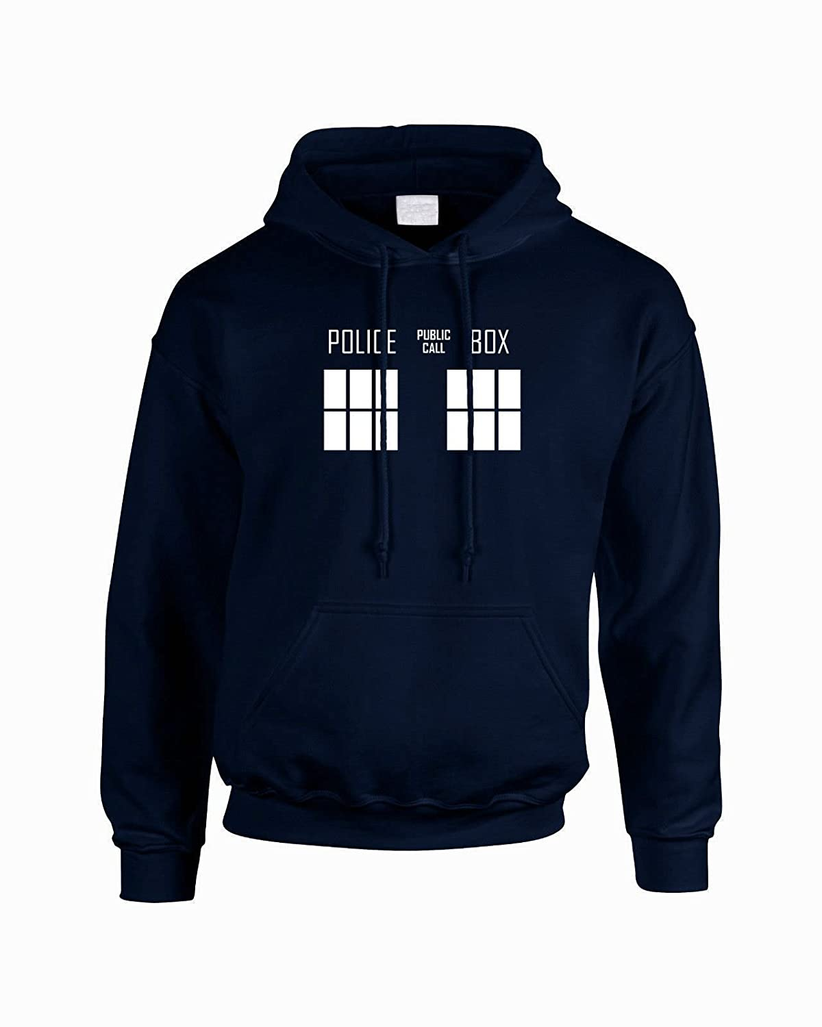 INSPIRED PREMIUM DOCTOR WHO POLICE BOX TARDIS HOODIE NAVY SWEAT JUMPER (S M L XL XXL)