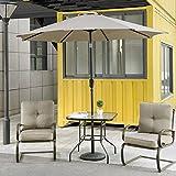 Cloud Mountain 4 Piece Patio Bistro Set Outdoor Patio Umbrella Patio Furniture Set Wrought Iron Bistro Sets Tempered Glass Square Table, Gradient Brown Burgundy