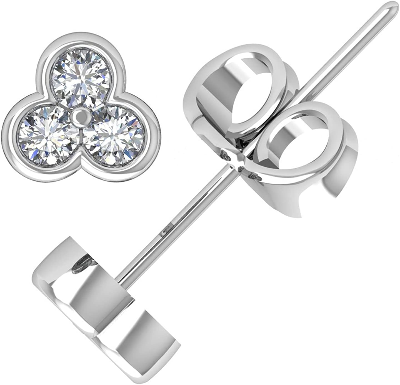 1//5 cttw, H-I, I2-I3 KATARINA Bezel Set Princess Cut Diamond Stud Earrings in 10K White Gold