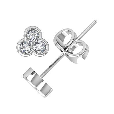 d78d7797737ab 14k White Gold 3 Stone Diamond Stud Earrings (0.14 Carat to 1/3 Carat) -  IGI Certified