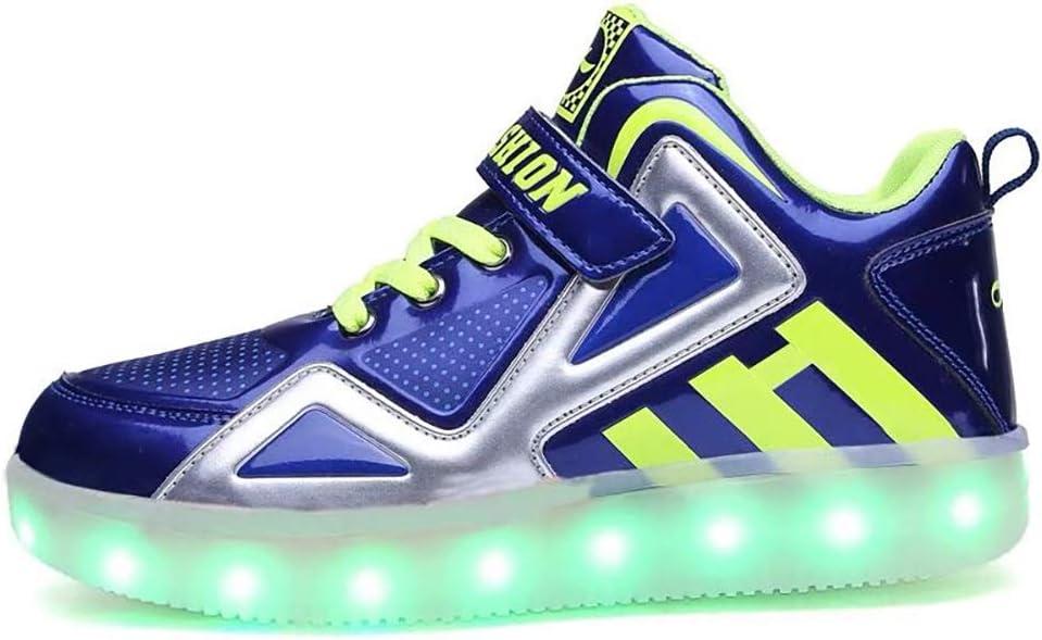 YISHIO Los Zapatos for niños LED, Zapatos-7 Luminosos de los niños del Color del USB Recargable de Zapatos de Mujer Blanca Adecuada Ropa de niños de Edad de los Estudiantes Hombres y (7-12 años)