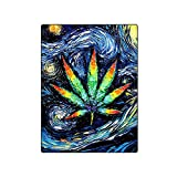 KUAYI Throw Blanket-Super Soft Home Decor Bedding Fleece Blanket,Marijuana Weed Leaf for Bed and Couch,58''x80''