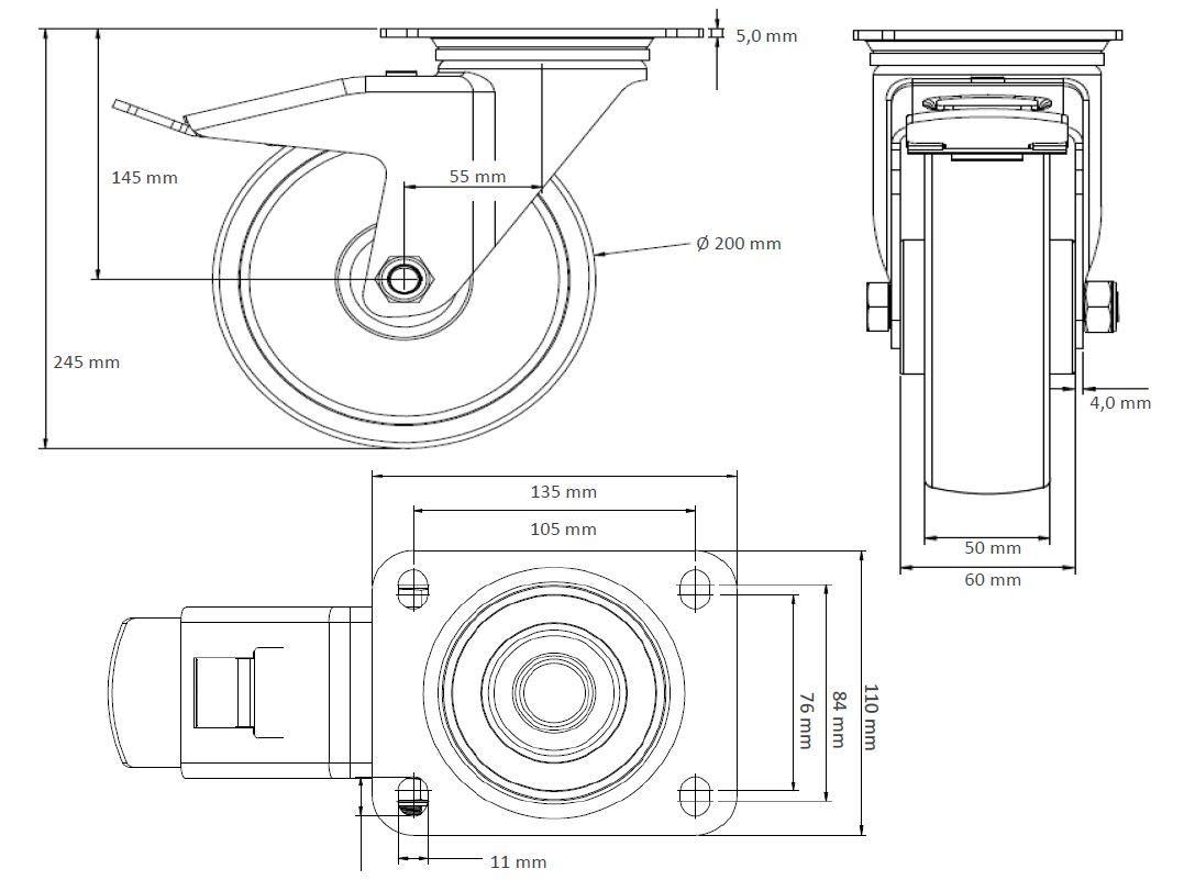 Rollensatz 4 Lenkrollen mit Feststeller 200 mm PolyurethanSchwerlast