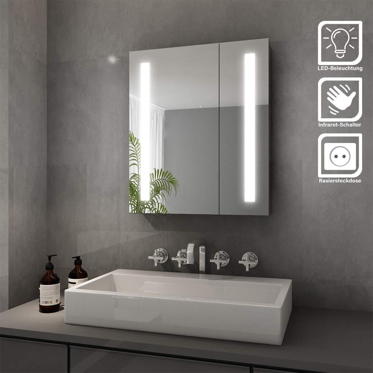 Badezimmer SONNI Spiegelschrank LED 20 türig Badezimmerspiegel mit ...